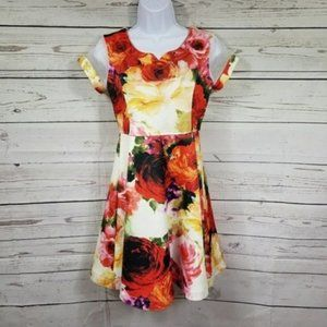 Bonnie Jean rose floral a-line dress girls 16